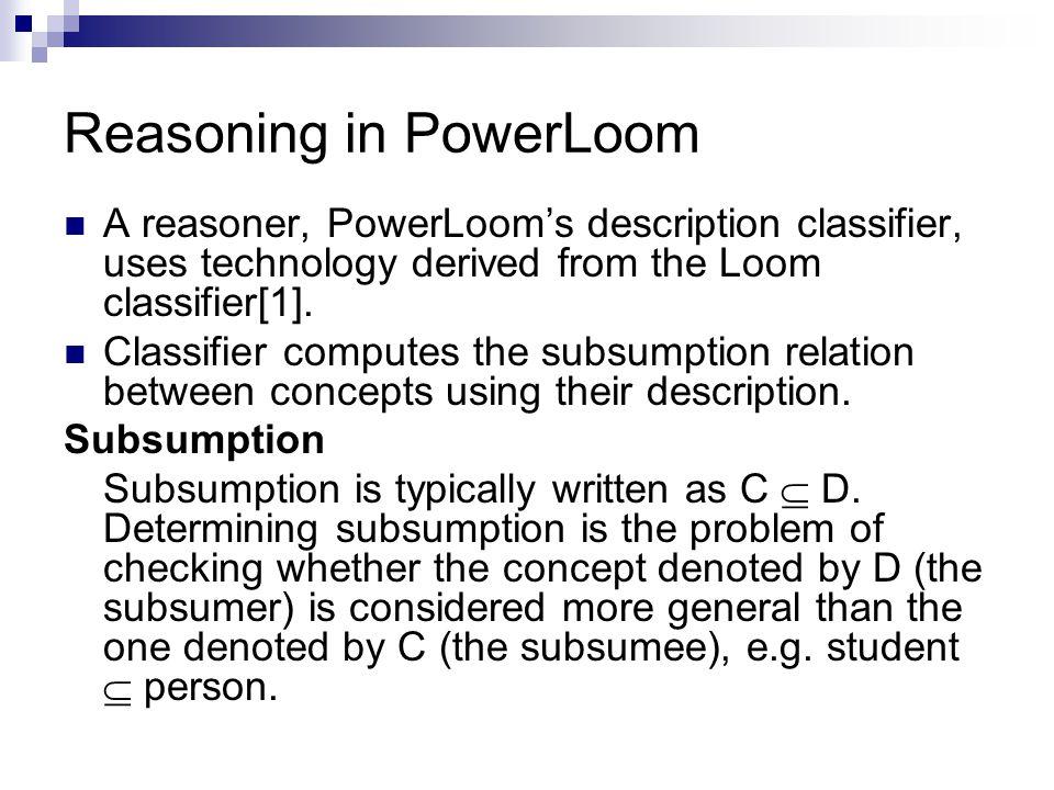 Reasoning in PowerLoom A reasoner, PowerLoom's description classifier, uses technology derived from the Loom classifier[1].