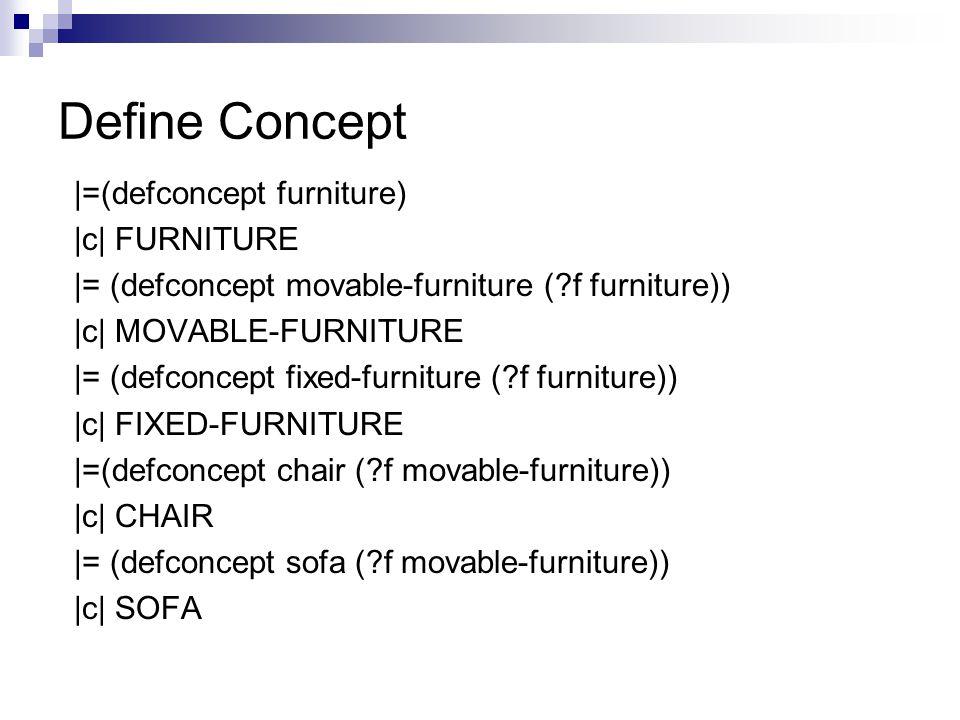 Define Concept |=(defconcept furniture) |c| FURNITURE |= (defconcept movable-furniture ( f furniture)) |c| MOVABLE-FURNITURE |= (defconcept fixed-furniture ( f furniture)) |c| FIXED-FURNITURE |=(defconcept chair ( f movable-furniture)) |c| CHAIR |= (defconcept sofa ( f movable-furniture)) |c| SOFA