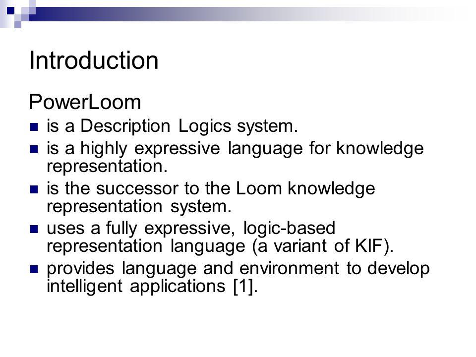 Introduction PowerLoom is a Description Logics system.