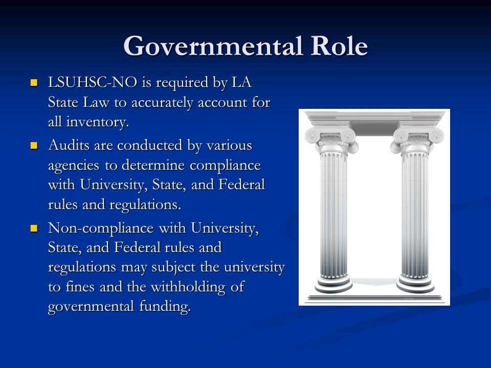 Governmental Role LSUHSC-NO is required by LA State Law to accurately account for all inventory.