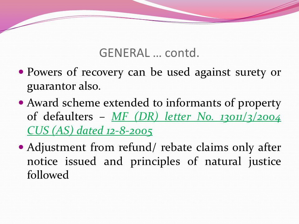 GENERAL One more effective provision is powers u/s 37E to publish name of persons, companies, etc.