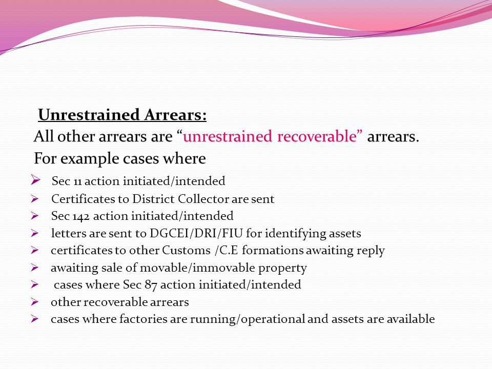 Unrestrained Arrears: All other arrears are unrestrained recoverable arrears.