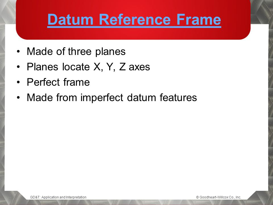 GD&T: Application and Interpretation© Goodheart-Willcox Co., Inc. Datum Reference Frame Made of three planes Planes locate X, Y, Z axes Perfect frame