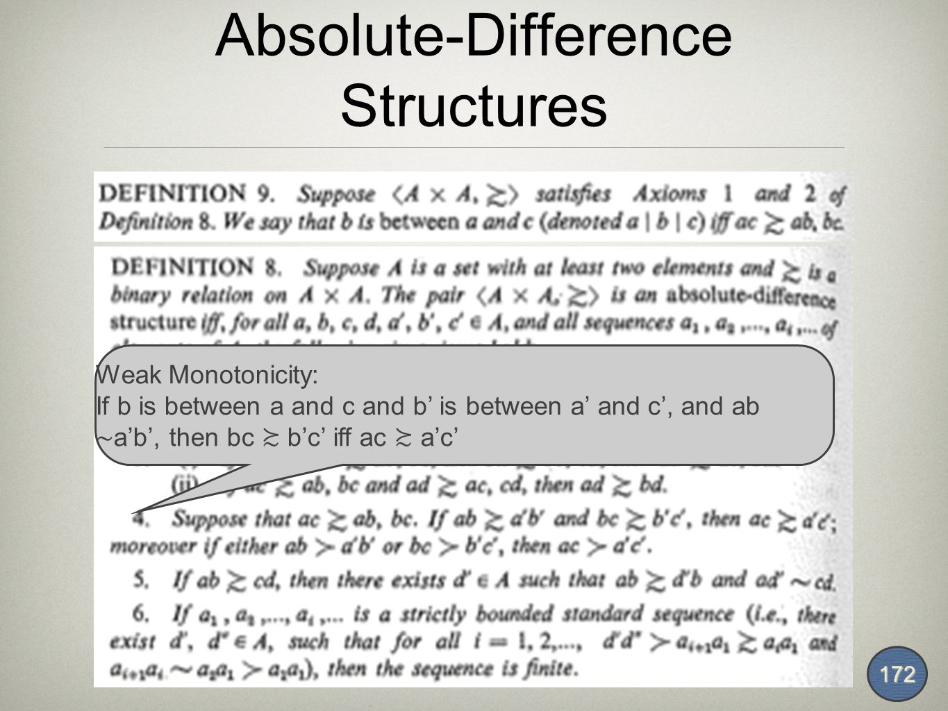 Absolute-Difference Structures 172 Weak Monotonicity: If b is between a and c and b' is between a' and c', and ab ∼ a'b', then bc ≿ b'c' iff ac ≿ a'c'