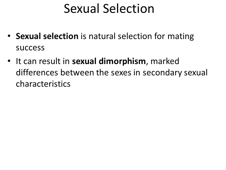Sexual Selection Sexual selection is natural selection for mating success It can result in sexual dimorphism, marked differences between the sexes in