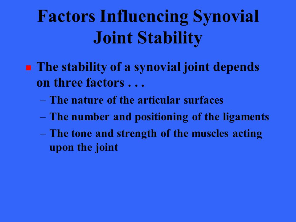 Factors Influencing Synovial Joint Stability The stability of a synovial joint depends on three factors... –The nature of the articular surfaces –The
