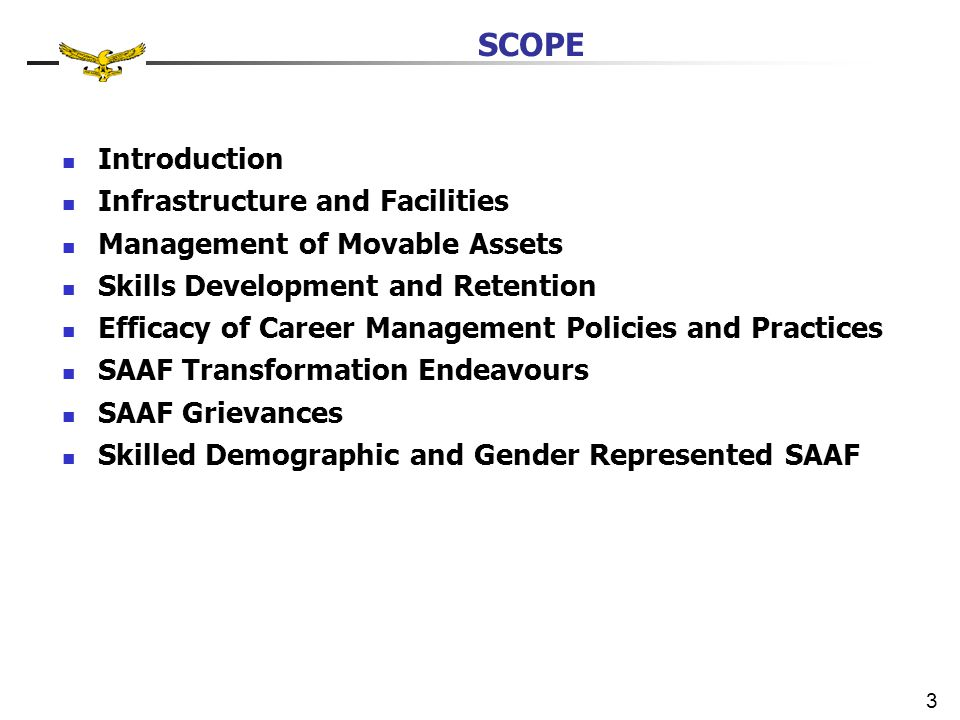 Introduction Infrastructure and Facilities Management of Movable Assets Skills Development and Retention Efficacy of Career Management Policies and Practices SAAF Transformation Endeavours SAAF Grievances Skilled Demographic and Gender Represented SAAF 3 SCOPE