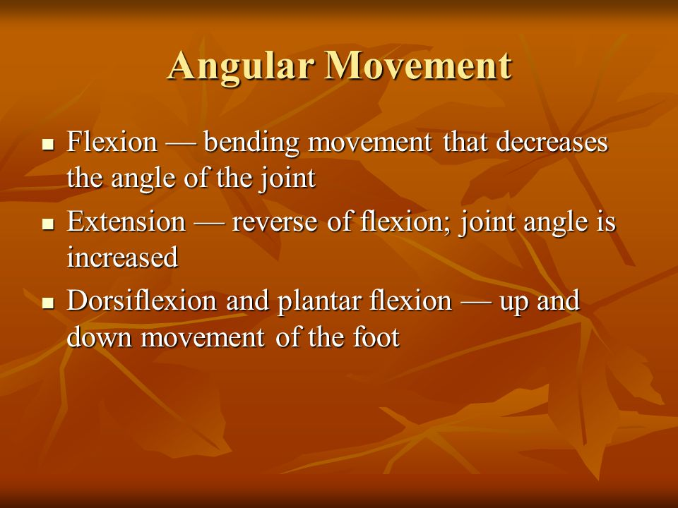 Angular Movement Flexion — bending movement that decreases the angle of the joint Flexion — bending movement that decreases the angle of the joint Extension — reverse of flexion; joint angle is increased Extension — reverse of flexion; joint angle is increased Dorsiflexion and plantar flexion — up and down movement of the foot Dorsiflexion and plantar flexion — up and down movement of the foot