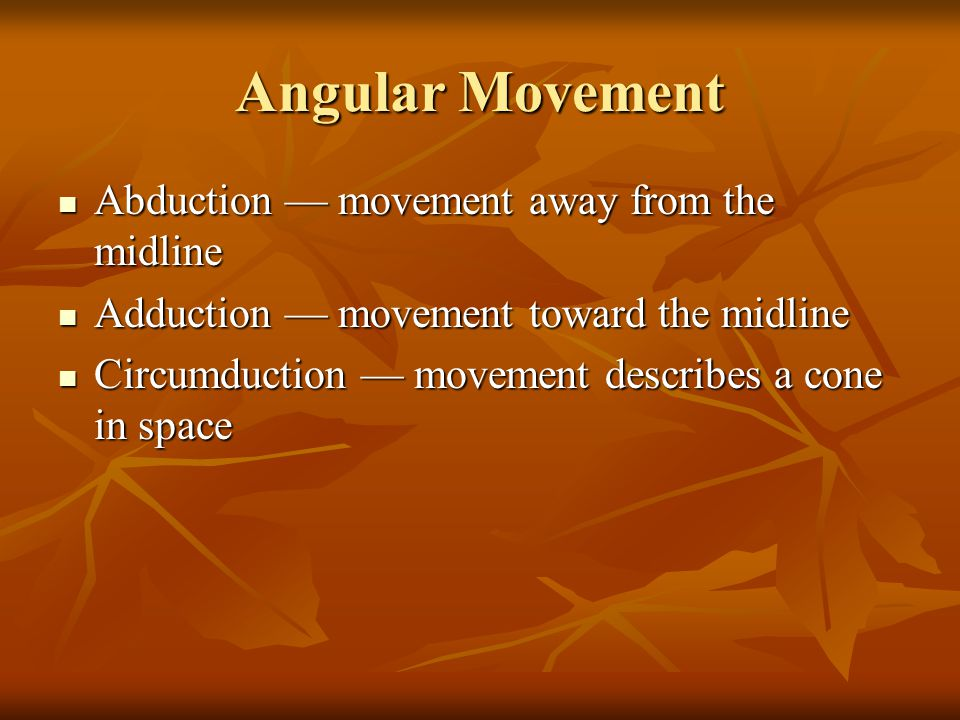 Angular Movement Abduction — movement away from the midline Abduction — movement away from the midline Adduction — movement toward the midline Adduction — movement toward the midline Circumduction — movement describes a cone in space Circumduction — movement describes a cone in space