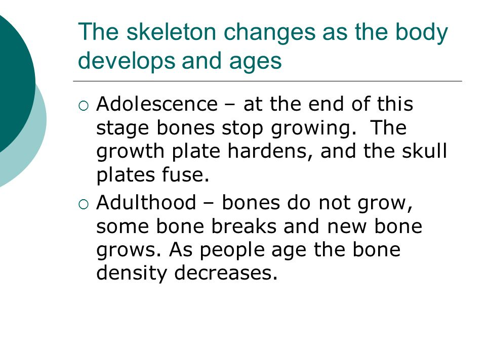 The skeleton changes as the body develops and ages  Adolescence – at the end of this stage bones stop growing. The growth plate hardens, and the skul
