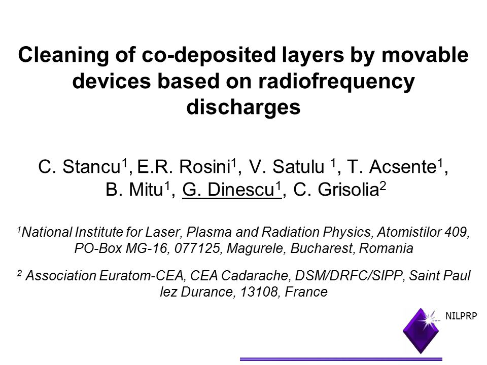 Cleaning of co-deposited layers by movable devices based on radiofrequency discharges C.