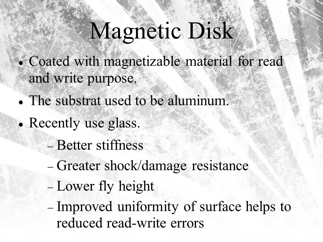 Magnetic Disk Coated with magnetizable material for read and write purpose.