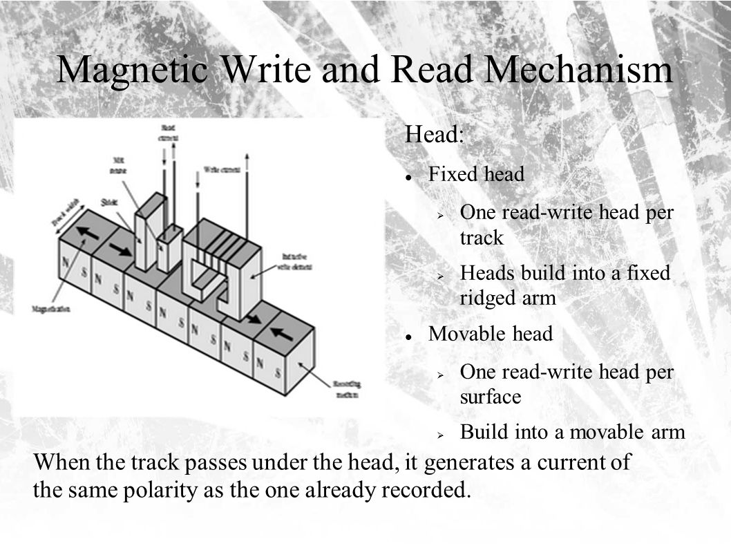 Magnetic Write and Read Mechanism Head: Fixed head  One read-write head per track  Heads build into a fixed ridged arm Movable head  One read-write head per surface  Build into a movable arm When the track passes under the head, it generates a current of the same polarity as the one already recorded.