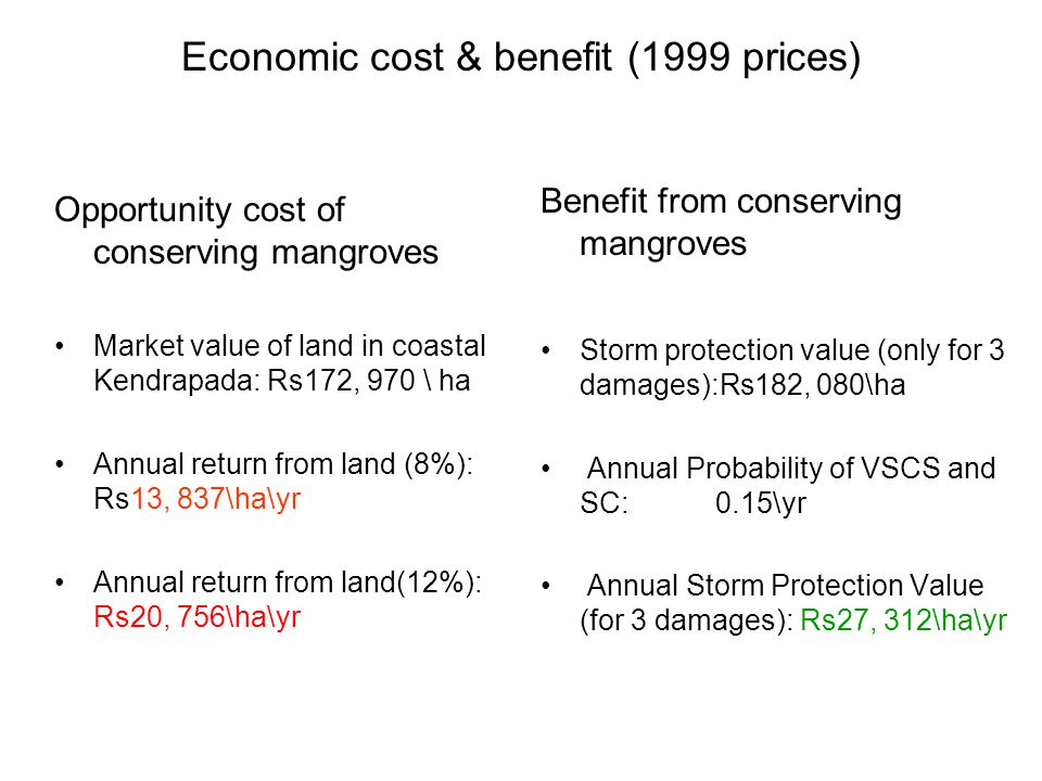 Economic cost & benefit (1999 prices) Opportunity cost of conserving mangroves Market value of land in coastal Kendrapada: Rs172, 970 \ ha Annual return from land (8%): Rs13, 837\ha\yr Annual return from land(12%): Rs20, 756\ha\yr Benefit from conserving mangroves Storm protection value (only for 3 damages):Rs182, 080\ha Annual Probability of VSCS and SC: 0.15\yr Annual Storm Protection Value (for 3 damages): Rs27, 312\ha\yr