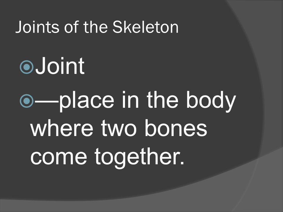 Joints of the Skeleton  Joint  —place in the body where two bones come together.