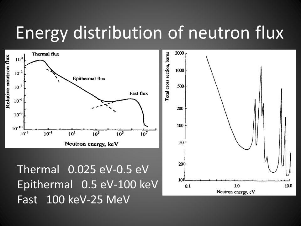 Energy distribution of neutron flux Thermal 0.025 eV-0.5 eV Epithermal 0.5 eV-100 keV Fast 100 keV-25 MeV