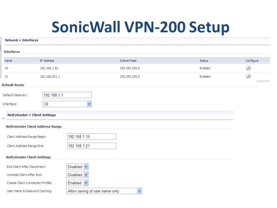 SonicWall VPN-200 Setup