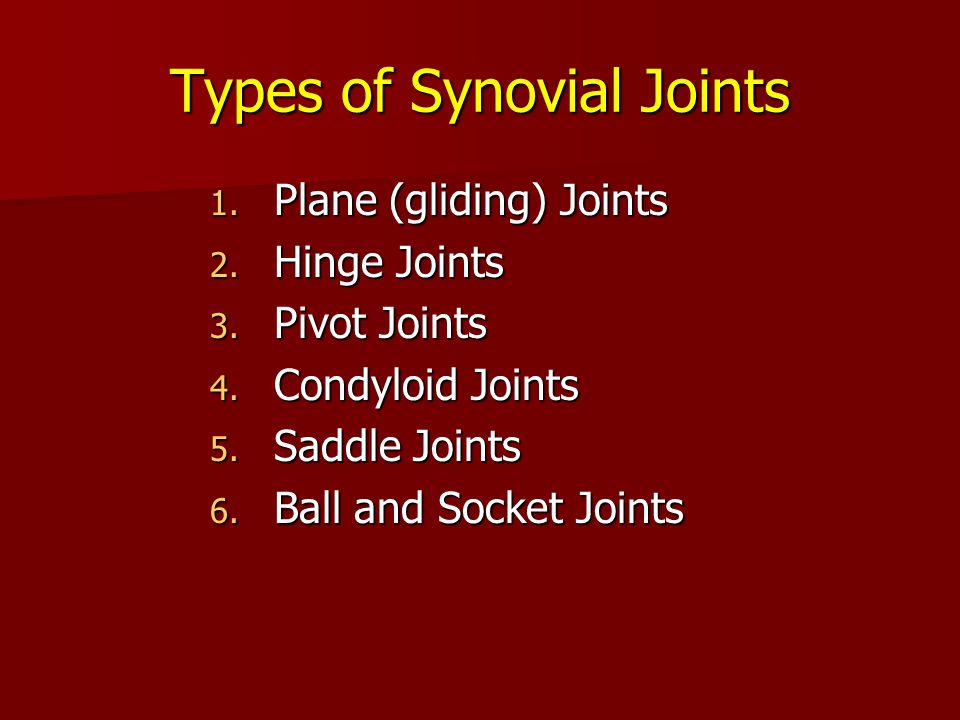 Types of Synovial Joints 1. Plane (gliding) Joints 2. Hinge Joints 3. Pivot Joints 4. Condyloid Joints 5. Saddle Joints 6. Ball and Socket Joints