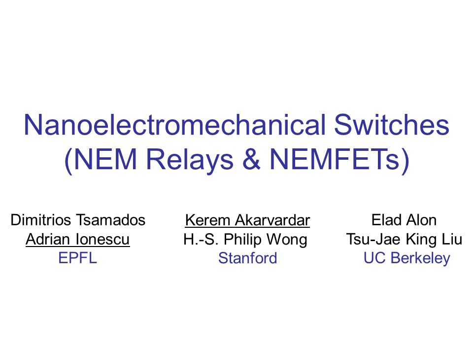 32 NEMS  Beyond CMOS = low power nano-switch  More than Moore = new functionality Key role of NEMS for power savings and new functionality: future hybrid NEMS-CMOS Future role of true hybrid NEM-FET devices: abrupt switch, memory, resonator, sensing Challenges for hybrid NEM-FET:  additional process control of nanoscale air-gap, thickness and uniformity of suspended structures, control and uniformity of mechanical properties  fabrication: top-down & bottom-up (Si, CNTs)  wafer-level packaging and reliability  thermal drift MEMS/NEMS application roadmap