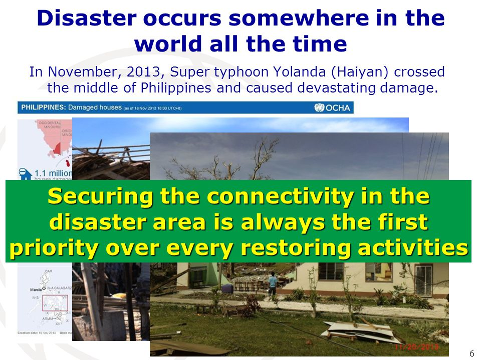 Disaster occurs somewhere in the world all the time 6 In November, 2013, Super typhoon Yolanda (Haiyan) crossed the middle of Philippines and caused devastating damage.