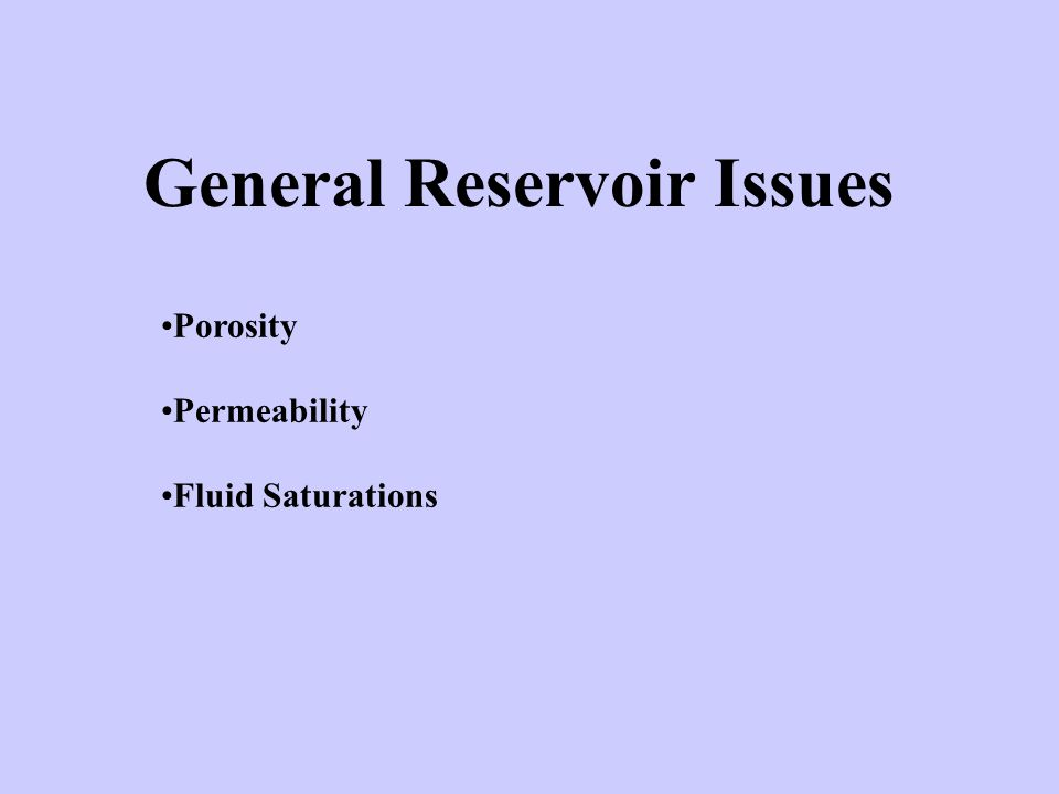 General Reservoir Issues Porosity Permeability Fluid Saturations