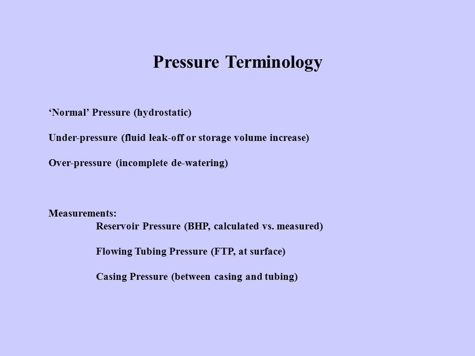 Pressure Terminology 'Normal' Pressure (hydrostatic) Under-pressure (fluid leak-off or storage volume increase) Over-pressure (incomplete de-watering)