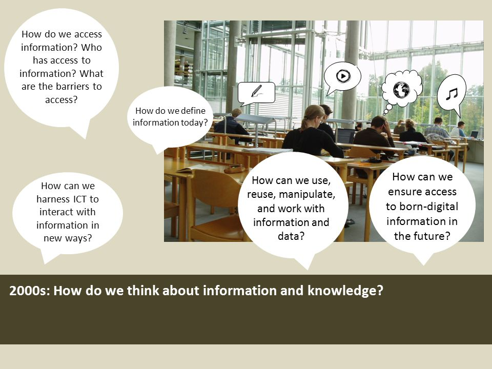 2000s: How do we think about information and knowledge? How can we harness ICT to interact with information in new ways? How do we access information?