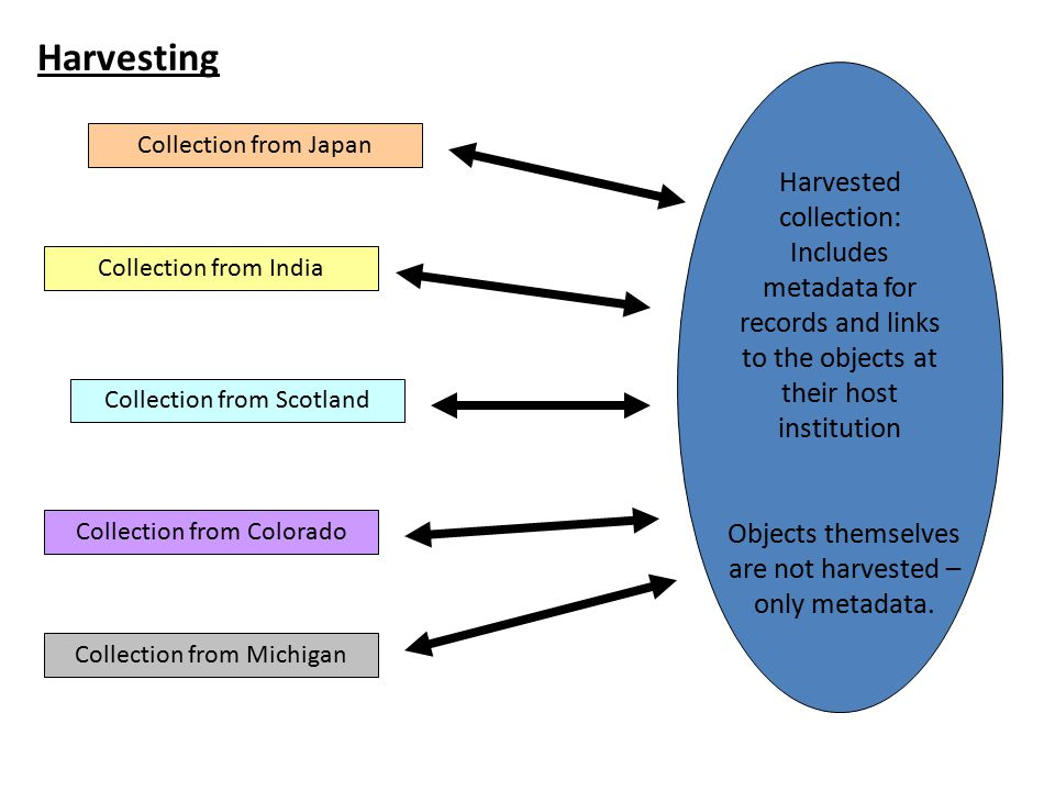 Harvested collection: Includes metadata for records and links to the objects at their host institution Objects themselves are not harvested – only met