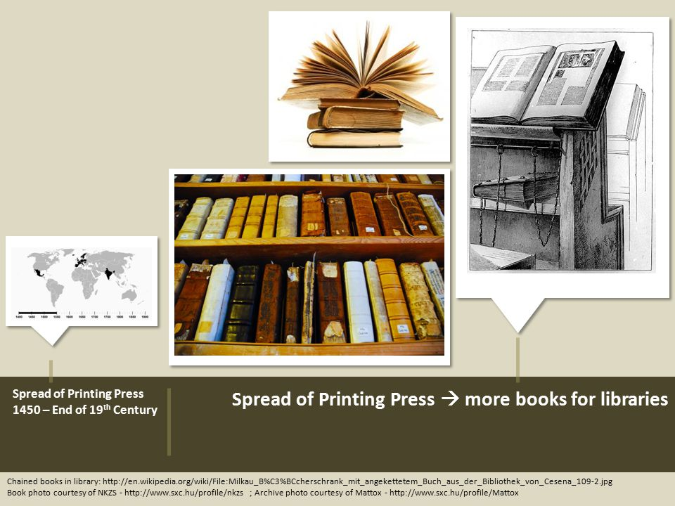 Spread of Printing Press 1450 – End of 19 th Century Chained books in library: http://en.wikipedia.org/wiki/File:Milkau_B%C3%BCcherschrank_mit_angekettetem_Buch_aus_der_Bibliothek_von_Cesena_109-2.jpg Book photo courtesy of NKZS - http://www.sxc.hu/profile/nkzs ; Archive photo courtesy of Mattox - http://www.sxc.hu/profile/Mattox Spread of Printing Press  more books for libraries