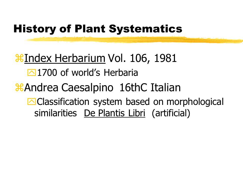 History of Plant Systematics zIndex Herbarium Vol.