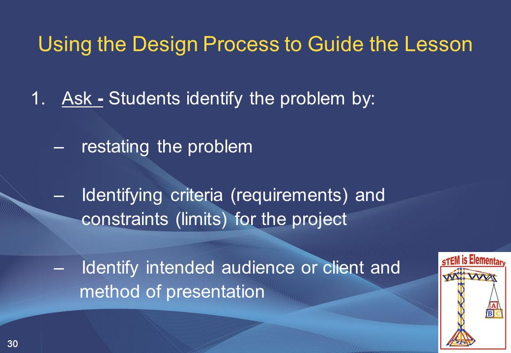 30 Using the Design Process to Guide the Lesson 1.Ask - Students identify the problem by: –restating the problem –Identifying criteria (requirements)