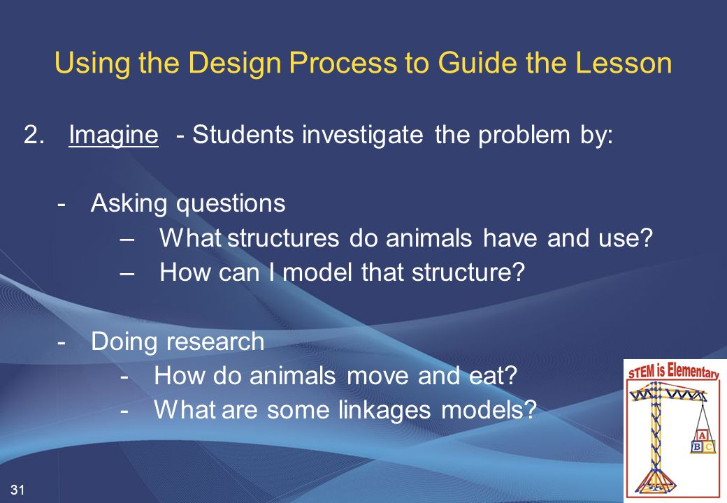 31 Using the Design Process to Guide the Lesson 2.Imagine - Students investigate the problem by: -Asking questions –What structures do animals have an
