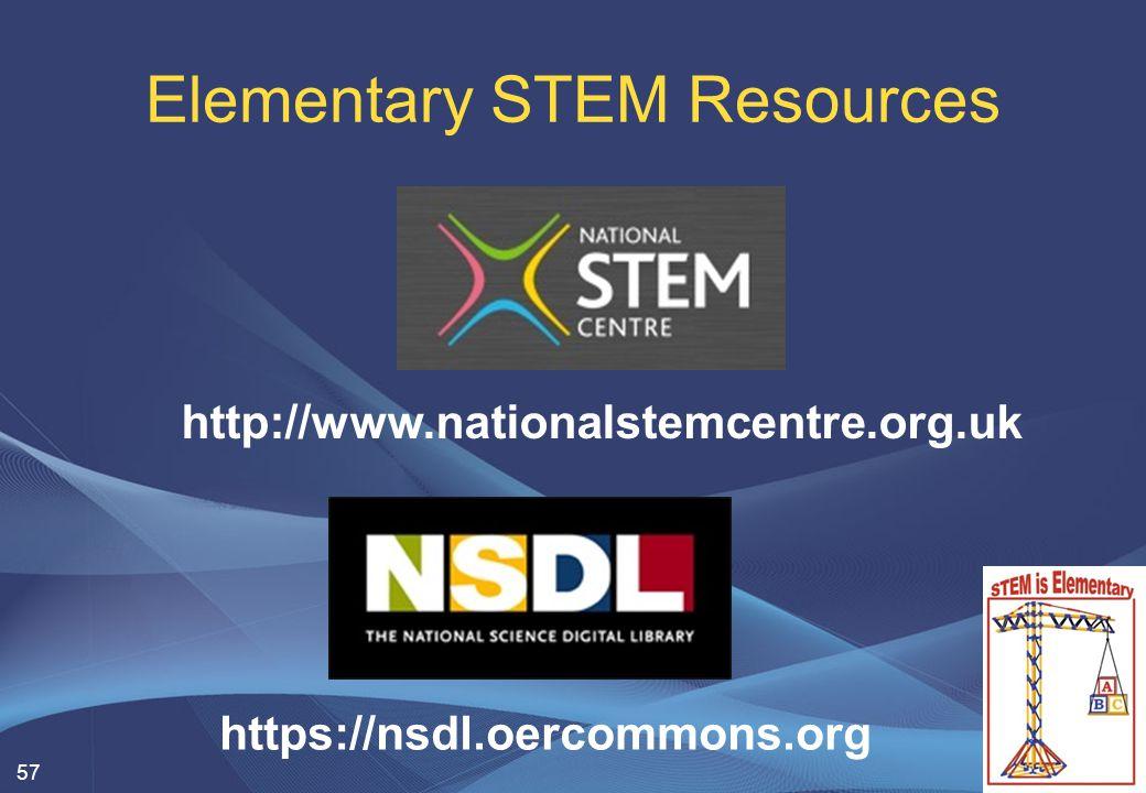 Elementary STEM Resources 57 http://www.nationalstemcentre.org.uk https://nsdl.oercommons.org
