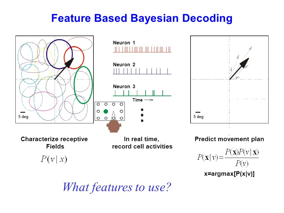 Feature Based Bayesian Decoding Characterize receptive Fields Predict movement plan x=argmax[P(x|v)] In real time, record cell activities What features to use