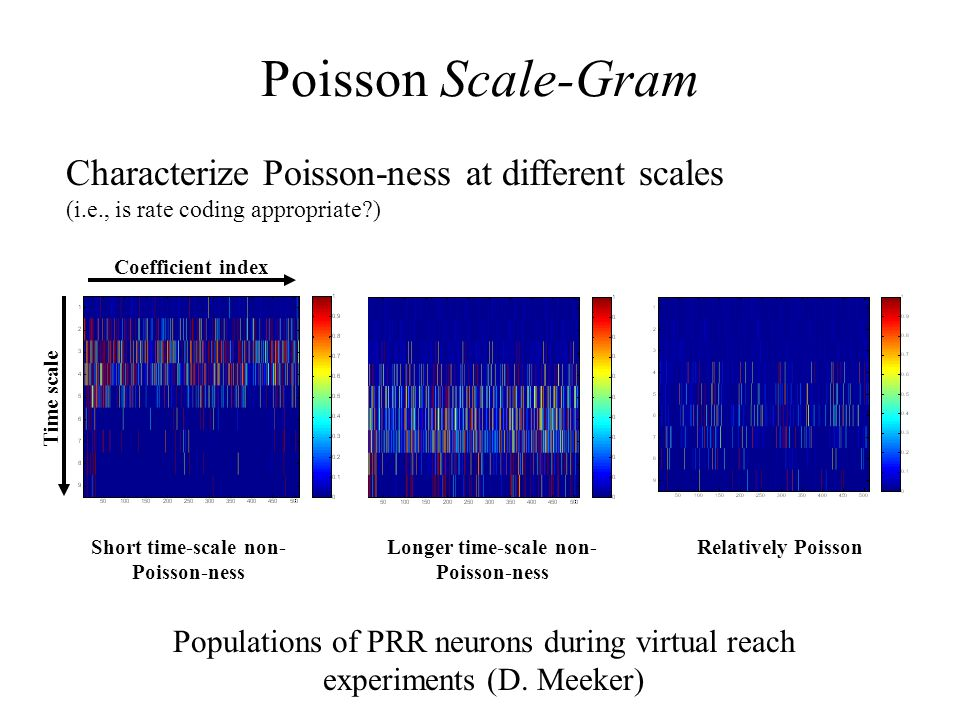 Poisson Scale-Gram Characterize Poisson-ness at different scales (i.e., is rate coding appropriate ) Short time-scale non- Poisson-ness Longer time-scale non- Poisson-ness Relatively Poisson Populations of PRR neurons during virtual reach experiments (D.