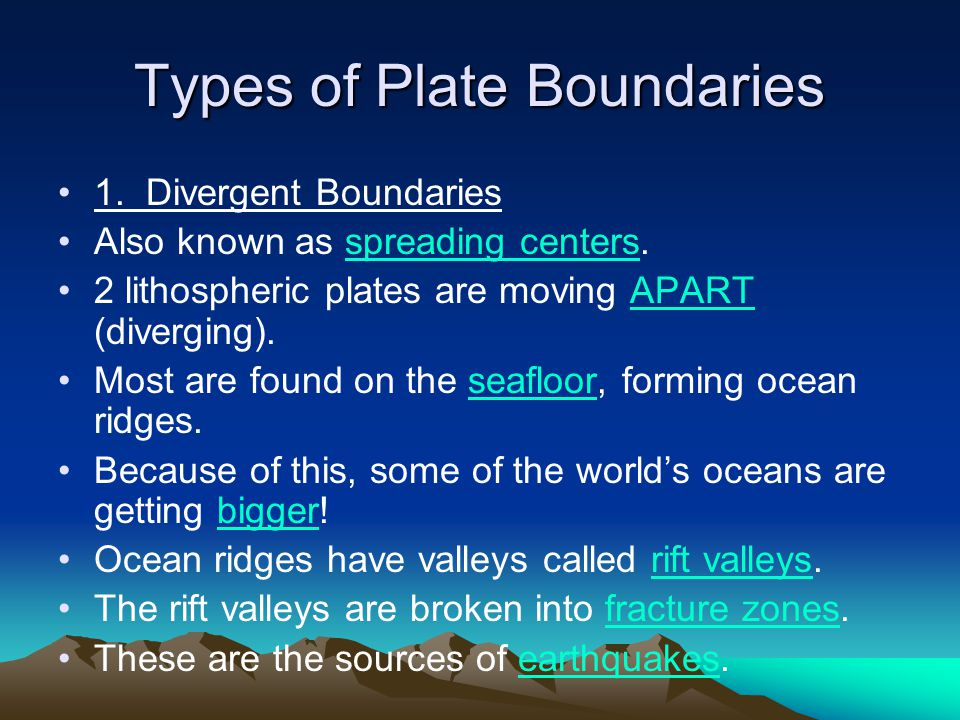 Types of Plate Boundaries 1. Divergent Boundaries Also known as spreading centers. 2 lithospheric plates are moving APART (diverging). Most are found