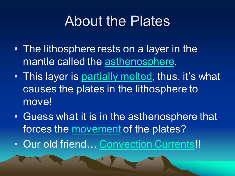 About the Plates The lithosphere rests on a layer in the mantle called the asthenosphere. This layer is partially melted, thus, it's what causes the p