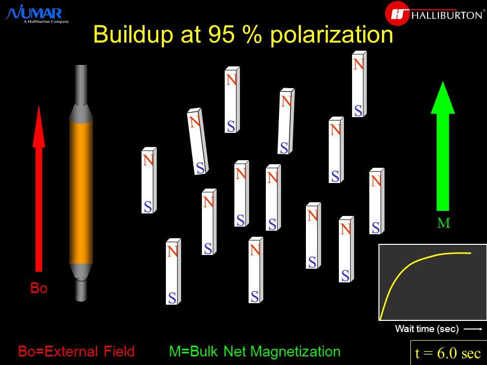 N S N S N S N S N S N S N S N S N S N S N S N S N S N S t = 6.0 sec M Bo=External Field M=Bulk Net Magnetization Wait time (sec) Buildup at 95 % polarization Bo