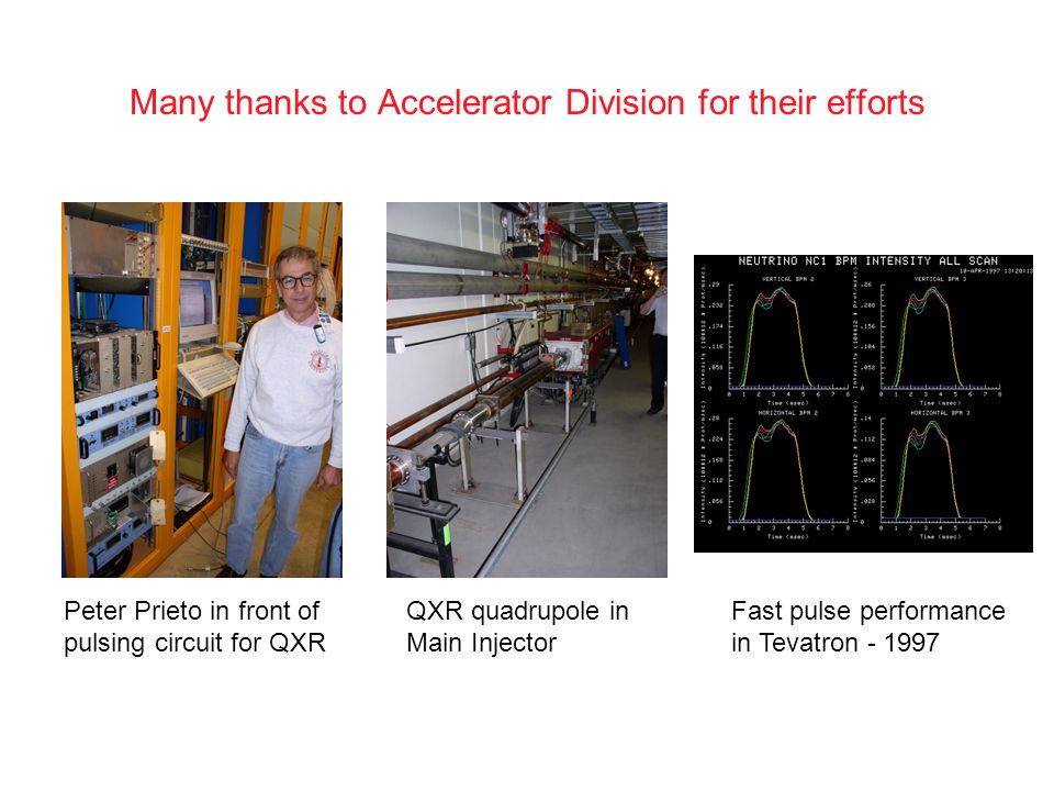 Peter Prieto in front of pulsing circuit for QXR QXR quadrupole in Main Injector Fast pulse performance in Tevatron - 1997 Many thanks to Accelerator Division for their efforts