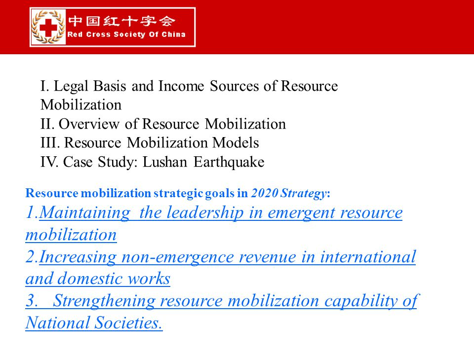 I. Legal Basis and Income Sources of Resource Mobilization II.