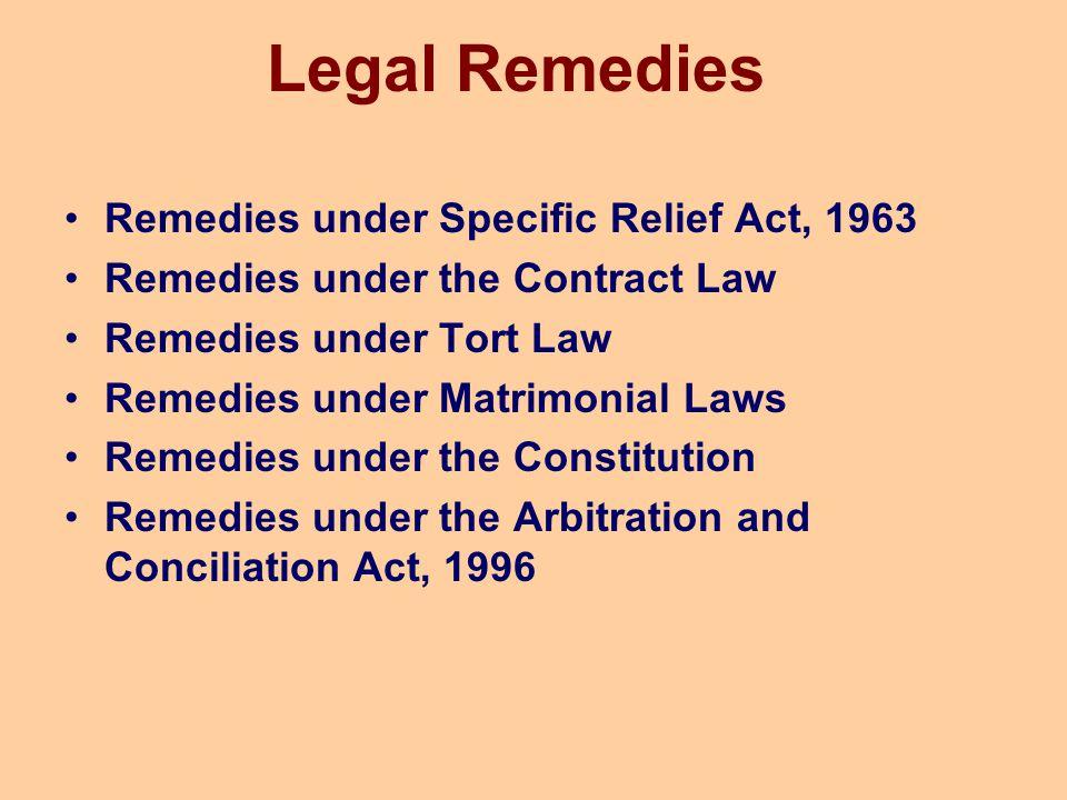 Legal Remedies Remedies under Specific Relief Act, 1963 Remedies under the Contract Law Remedies under Tort Law Remedies under Matrimonial Laws Remedi