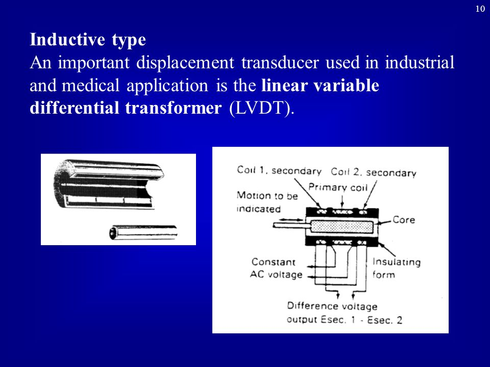 10 Inductive type An important displacement transducer used in industrial and medical application is the linear variable differential transformer (LVDT).
