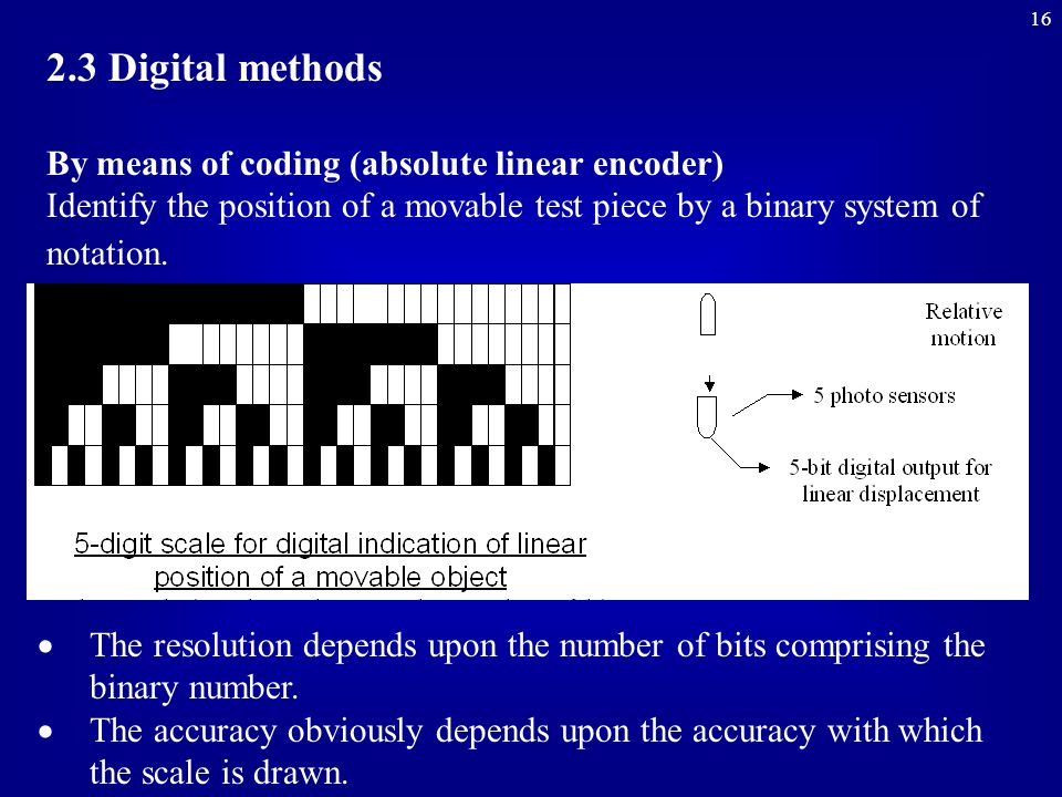 16 2.3 Digital methods By means of coding (absolute linear encoder) Identify the position of a movable test piece by a binary system of notation.