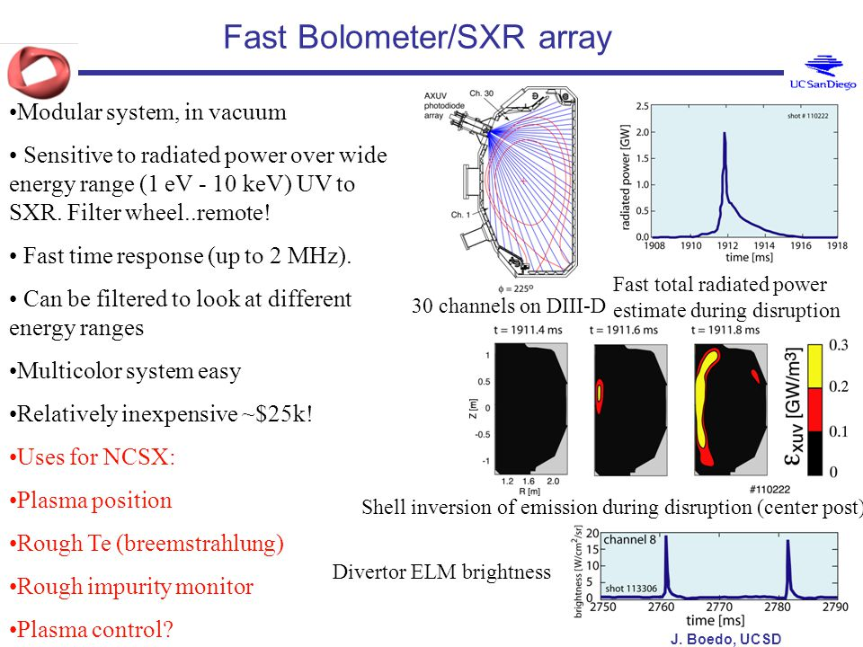 J. Boedo, UCSD Fast Bolometer/SXR array 30 channels on DIII-D Fast total radiated power estimate during disruption Modular system, in vacuum Sensitive