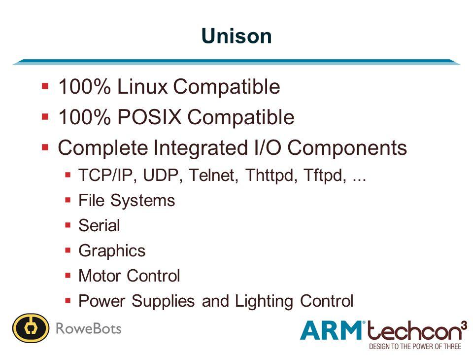 Unison  100% Linux Compatible  100% POSIX Compatible  Complete Integrated I/O Components  TCP/IP, UDP, Telnet, Thttpd, Tftpd,...