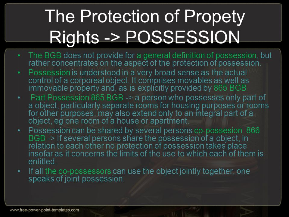 Types of Property Rights -> Ownership Ownership is seen as an indivisible power over an object.