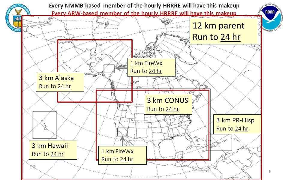 3 km CONUS Run to 24 hr 5 12 km parent Run to 24 hr 3 km PR-Hisp Run to 24 hr 3 km Hawaii Run to 24 hr 1 km FireWx Run to 24 hr 3 km Alaska Run to 24 hr 1 km FireWx Run to 24 hr Every NMMB-based member of the hourly HRRRE will have this makeup Every ARW-based member of the hourly HRRRE will have this makeup
