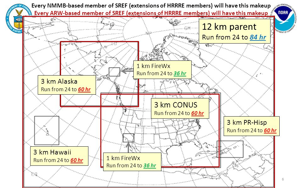 Every NMMB-based member of SREF (extensions of HRRRE members) will have this makeup Every ARW-based member of SREF (extensions of HRRRE members) will have this makeup 3 km CONUS Run from 24 to 60 hr 6 12 km parent Run from 24 to 84 hr 3 km Hawaii Run from 24 to 60 hr 3 km PR-Hisp Run from 24 to 60 hr 3 km Alaska Run from 24 to 60 hr 1 km FireWx Run from 24 to 36 hr 1 km FireWx Run from 24 to 36 hr