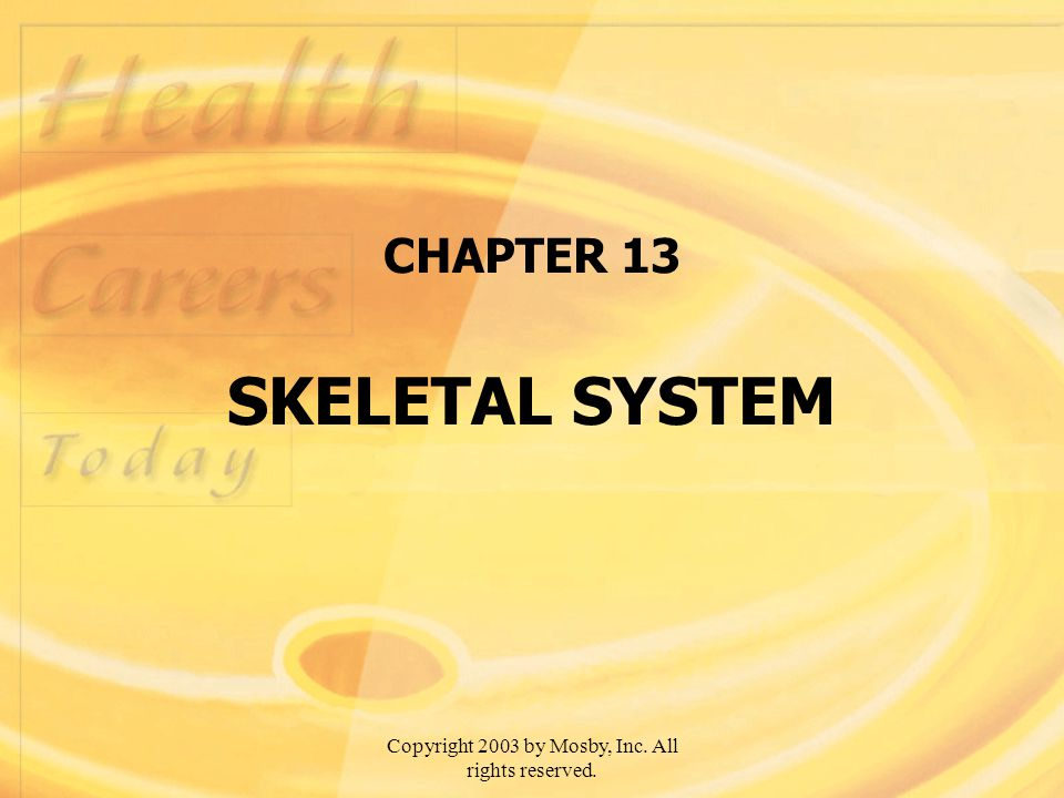 Copyright 2003 by Mosby, Inc. All rights reserved. CHAPTER 13 SKELETAL SYSTEM