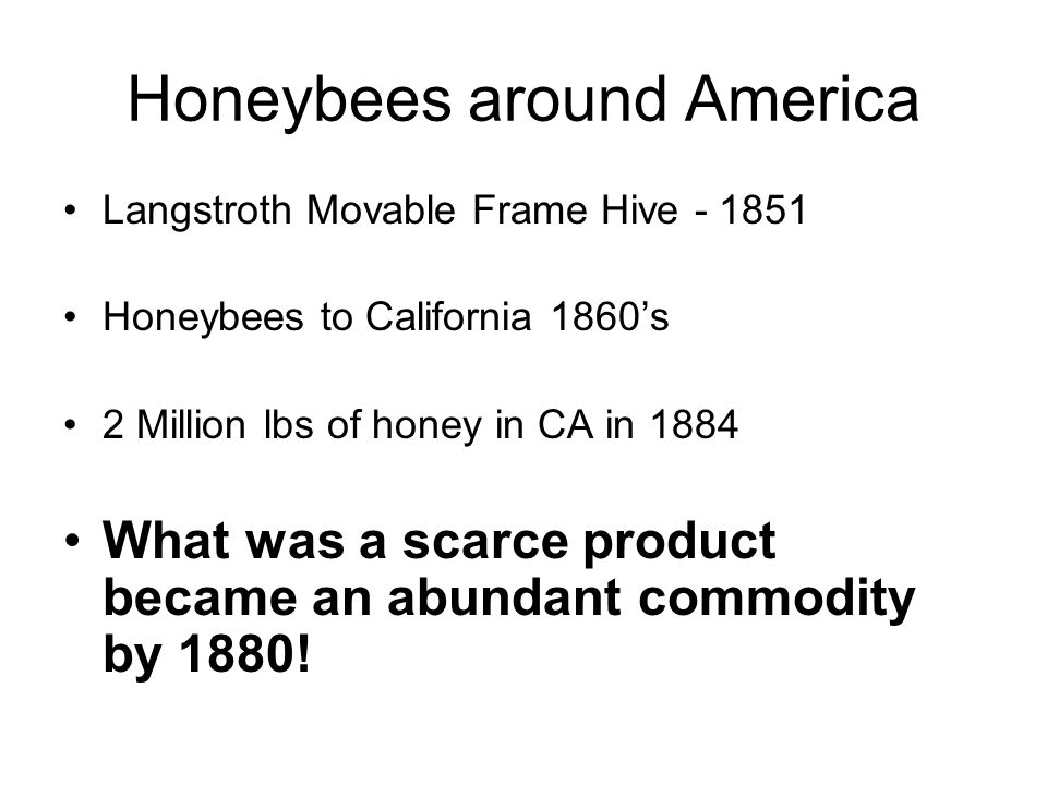 Honeybees around America Langstroth Movable Frame Hive - 1851 Honeybees to California 1860's 2 Million lbs of honey in CA in 1884 What was a scarce product became an abundant commodity by 1880!